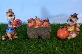 ハロウィン パンプキンカートとラクーン3品セット 6HA03 オーナメント パンプキン ハロウィングッズ 飾り 置物 かぼちゃ カボチャ フィギュア 魔女 オブジェ 置き物 マスコット ガーデンマスコット パーティー アライグマ