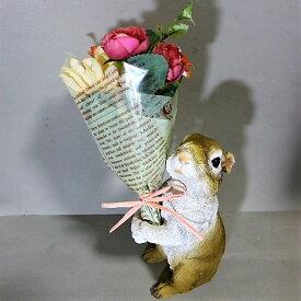 うさぎの置物 ウサギ プレゼントラビットBR 8412-02 花束 ギフト CT触媒加工 防汚 抗菌 消臭 兎 ガーデンオブジェ オーナメント 雑貨 オブジェ ガーデニング インテリア マスコット アニマル リアル ディスプレィ