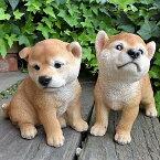 犬の置物秋田犬2匹セット子犬N13392いぬイヌ動物オーナメントガーデン犬置物オーナメントガーデニング庭オブジェ陶器リアルデスプレィアニマル