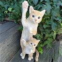 猫の置物 親子でひょっこり 茶とら Y121QY キャット ガーデンオブジェ CAT 動物 オーナメント ネコ 雑貨 ガーデン オブジェ ガーデニング インテリア マスコット アニマル リアル ディスプレィ ねこ グッズ