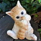 猫の置物子猫の甘えん坊茶トラY117QYキャットガーデンオブジェCAT動物オーナメントネコ雑貨ガーデンオブジェガーデニングインテリアマスコットアニマルリアルディスプレィねこグッズ