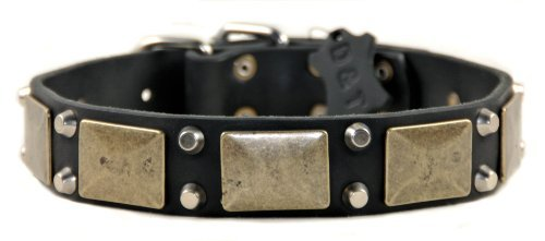 "Dean and Tyler ""THE ANTIQUE"" Leather Dog Collar with Solid Brass Hardware - Black - Size 24-Inch b"