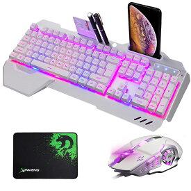 【送料無料】】ゲーミングキーボード マウスセット 光るキーボード K618 バックライト RGB USB有線 104キー マウスパッド付 (10種類のバックライトモード) (ホワイト)