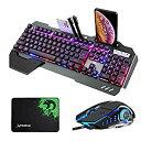【送料無料】ゲーミングキーボード マウスセット 光るキーボード K618 バックライト 26アンチゴースト 英語配列 RGB U…