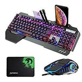 【送料無料】ゲーミングキーボード マウスセット 光るキーボード K618 バックライト 26アンチゴースト 英語配列 RGB USB有線 104キー マウスパッド付 Windows/Mac OS対応 (10種類のバックライトモード)