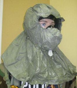 米軍用 NBC緊急避難用ヘッドカーバ 核放射粉塵 火山灰 防毒ガスマスク同時使用 緊急避難 用