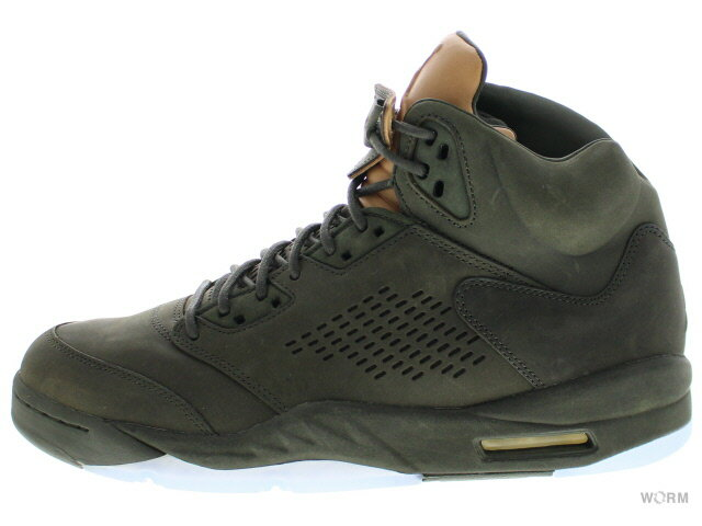 "AIR JORDAN 5 RETRO PREM ""TAKE FLIGHT"" 881432-305 sequoia/sequoia-metallic gold エア ジョーダン 5 未使用品【中古】"