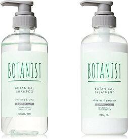 BOTANIST(ボタニスト) ボタニカルリフレッシュシャンプー ダメージケア シャンプー & トリートメント ホワイトティーとシトラスの香り & ホワイトティーとゼラニウムの香り 白 490mL さらさら ヘアケア 夏限定