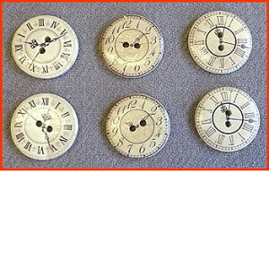 ・アンティッククロックプリントウッドボタン・ちょっと大きめ約30mmサイズ(6個パック)