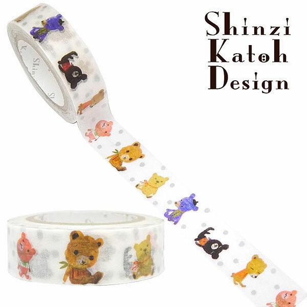 マスキングテープ シール堂 シンジカトウ Shinzi Katoh MaskingTape Plus-Paris ランタン- pudding bear ks-mt-10073 15mm×10m