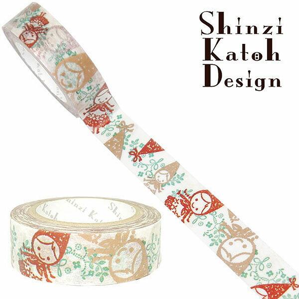 マスキングテープ シール堂 シンジカトウ/Shinzi Katoh MaskingTape Plus-Paris ランタン- jolie red hood1 ks-mt-10107 15mm×10m