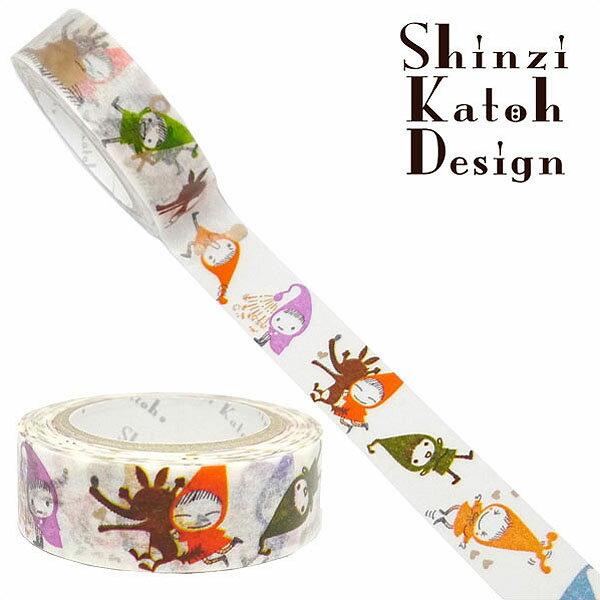 マスキングテープ シール堂 シンジカトウ/Shinzi Katoh MaskingTape Plus-Paris ランタン- red hood pochon colorful ks-mt-10110 15mm×10m