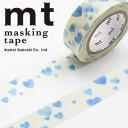 マスキングテープ マステ mt カモ井加工紙 mt 1P ハート・スタンプブルー(15mmx10m)MT01D332
