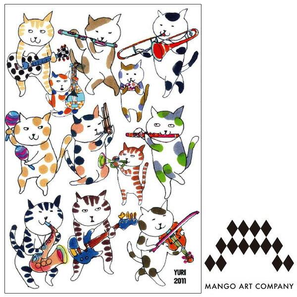 ポストカード 猫 MANGO ART COMPANY すぎはらゆり 音楽ねこ