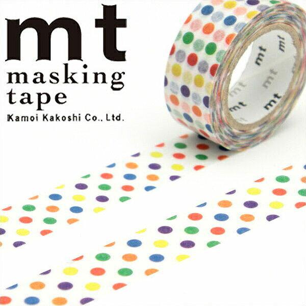 マスキングテープ マステ mt カモ井加工紙 mtfor kids カラフル・ドット (15mmx7m ミニ紙管) MT01KID002・1巻