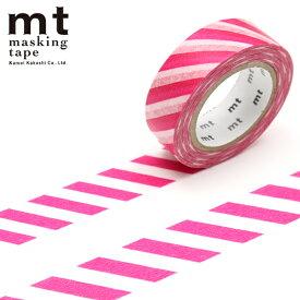 【楽天マラソンセール5%OFF】 マスキングテープ  mt カモ井加工紙 mt 1P (15mmx10m)MT01D372 ストライプ マゼンダ