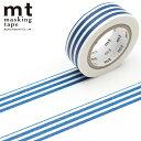 マスキングテープ mt カモ井加工紙mt 1P (15mmx10m)MT01D386 ボーダー インディゴ