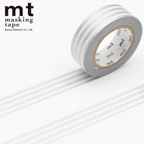 マスキングテープ マステ mt カモ井加工紙 mt 1P (15mmx10m)MT01D391 ボーダー 銀
