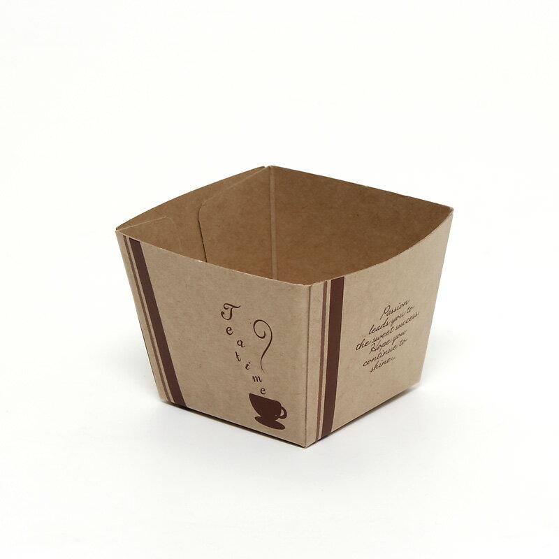 製菓資材 PMB35-014 クラフトキューブカップ 40ティータイム(10枚入り)(ベーキングカップ)