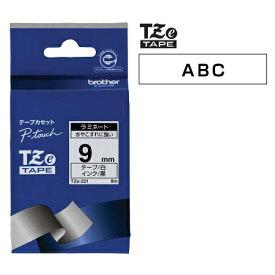 ラベルライター カートリッジブラザー ピータッチテープ9mm幅 白 黒文字TZe-221