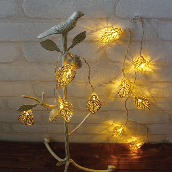 クリスマス最終SALE!クリスマス レス イヴェール LEDガーランド リーフ ゴールド 10球 4008274-02