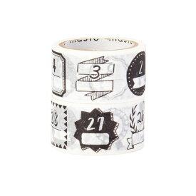 マスキングテープ マステMark's マークス水性ペンで書けるマスキングテープ・ミシン目入り・手帳デコ2巻セット(日付柄)手描きモノクロ MST-FA09-F