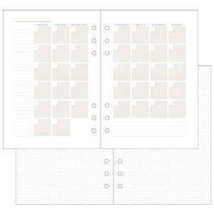 【クーポン配布中】手帳 2020 システム手帳 リフィル・日付なしダイアリ マークス MARK'S A5 月間ブロック&メモ ブラウン ODR-RFL06-M
