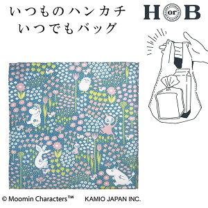 エコバッグカミオジャパンハンカチエコバッグマチ付きムーミン花に囲まれて36773