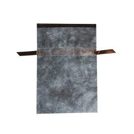 ギフトラッピングバッグ 不織布リボン巾着袋 M ブラウン(10枚入り)