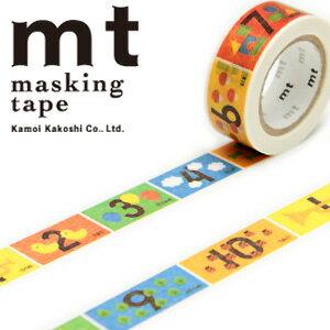 マスキングテープ マステ mt カモ井加工紙 mt for kids 1p キッズすうじ (15mmx7m ミニ紙管)MT01KID015