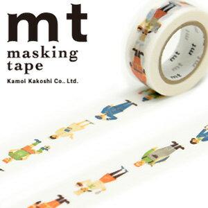 マスキングテープ マステ mt カモ井加工紙 mt for kids 1p work・ひと (15mmx7m ミニ紙管)MT01KID016
