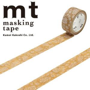 マスキングテープ マステ mt カモ井加工紙 mt fab ワックスペーパーテープ 1p 花柄(15mmx3m ミニ紙管)MTWX1P01