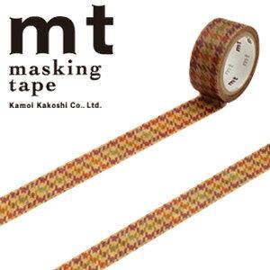 【5/26までセール特価!】マスキングテープ  mt カモ井加工紙 mt fab ワックスペーパーテープ 1p 千鳥チェック(15mmx3m ミニ紙管)MTWX1P02