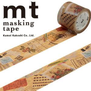 マスキングテープ マステ mt カモ井加工紙 mt fab ワックスペーパーテープ 1p コラージュ(30mmx3m ミニ紙管)MTWX1P04