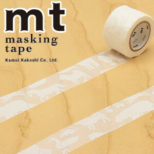 マスキングテープ マステ mt カモ井加工紙 mt fab フロッキーテープ 1p 白い動物(26mmx3m ミニ紙管)MTFL1P04
