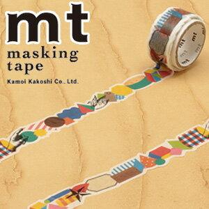 最終特価! マスキングテープ マステ mt カモ井加工紙 mt fab 型抜きテープ 1p 幾何学(17mmx3m ミニ紙管)MTKT1P01