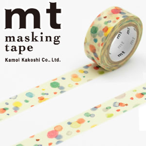 マスキングテープ マステ mt カモ井加工紙 mt for kids てんてん (15mmx7m ミニ紙管)MT01KID021