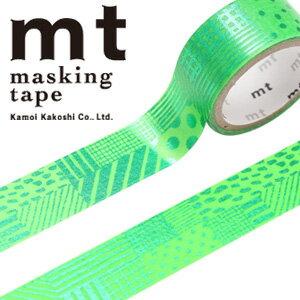 マスキングテープ マステ mt カモ井加工紙 mt fab 1p 手書き柄・グリーン(15mmx3m ミニ紙管)MTHK1P06