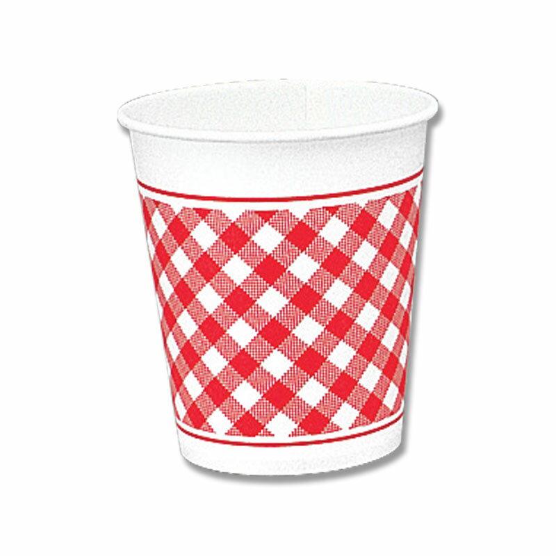 紙コップ HEIKO シモジマ ペーパーカップ7オンス ギンガムR 100個
