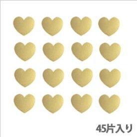 タックラベル(シール)HEIKO シモジマ No.305 メタリックハート ゴールド14mm(45片入り)
