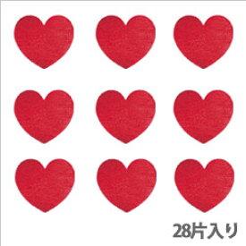タックラベル(シール)HEIKO シモジマ No.312 メタリックハート レッド 19mm(28片入り)