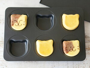 cotta イングリッシュマフィン型 6個取り ねこ型 ネコ型 マフィンカップ 焼き型 焼型 ケーキ型 マドレーヌ フィナンシェ 焼き菓子 洋菓子 ケーキ ケーキ作り お菓子作り くっつきにくい 道具