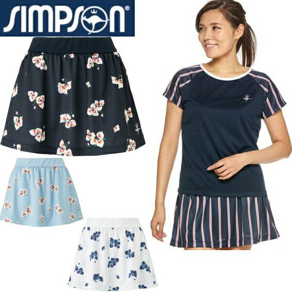 シンプソン(Simpson) テニスウェア レディース 総柄 スコート (スパッツ無し) STW-92200P