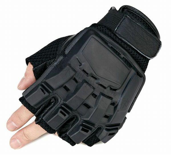 【サバイバルゲーム装備】SWAT タクティカル グローブ バックハンド プロテクト ハーフフィンガー ブラック