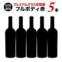 【送料無料】ソムリエプレミアムクラス定期便 フルボディ赤ワイン5本セット(1ヶ月毎お届け) 送料無料 赤ワインセット