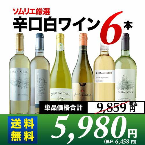 【送料無料】辛口白ワイン6本セット 第48弾 送料無料 白ワインセット 【YDKG-t】【smtb-T】【ギフト・プレゼント対応可】【ギフト ワイン】【ソムリエ】
