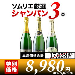 シャンパン3本セットシャンパンセット【YDKG-t】【12本単位のご購入で送料無料/ギフト・プレゼント対応可】【ギフトワイン】【あす楽_日曜営業】