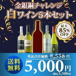 【送料無料】金銀銅チャレンジ白5本セット送料無料白ワインセット【ギフト・プレゼント対応可】【ギフトワイン】【ソムリエ】