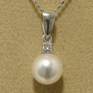 【受注発注品】あこや真珠 1粒ダイヤバチカン パールペンダントトップ(ヘッド) ホワイト系 7.5-8.0mm BBB K18WG ホワイトゴールド 0.05ct [n5](真珠 ペンダント)(フォーマル プレゼント)