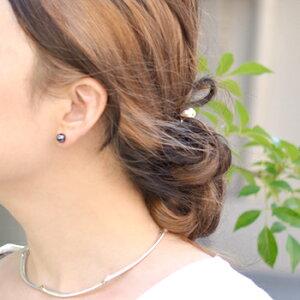 アコヤ真珠パールピアス(イヤリング)K14WGパールホワイト系/グリーン系7.0-7.5mm[ネコポス可]真珠ピアス真珠パ−ルあこや黒真珠本真珠[346]